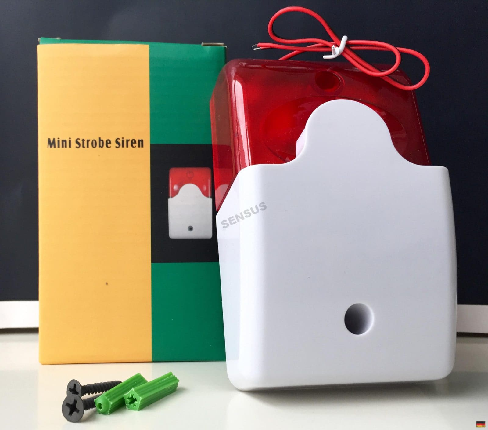 12V Alarmsirene mit Blitzleuchte - Innen Sirene Aussensirene Blitzlicht Alarm Signalgeber