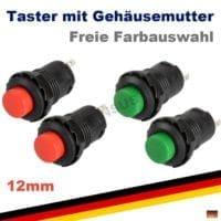 Drucktaster 12mm | Taster Schalter Klingeltaster Klingelschalter Gehäuse (rot,grün)