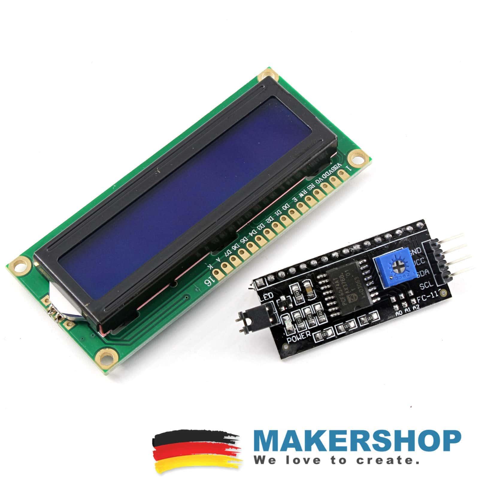 LCD 1602 blau mit I2C Interface