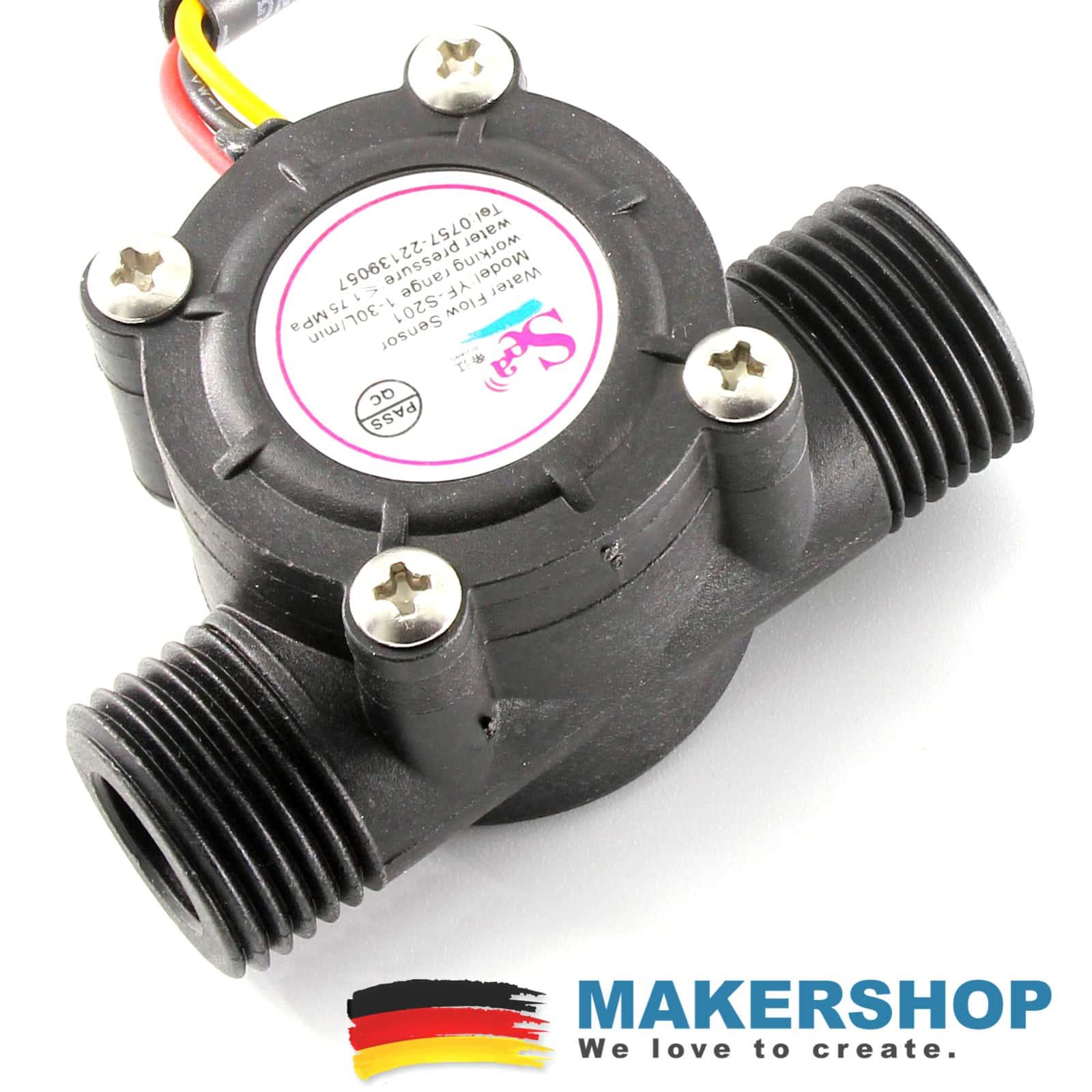 Wasserfluss Durchfluss Sensor YF-S201 Water Flow Sensor Arduino Raspberry Pi